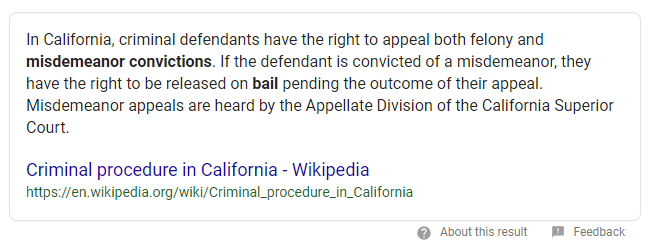criminal trial procedure in California featured snippet example